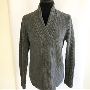 Nautica Sweater Charcoal Gray Cable Knit V- neck